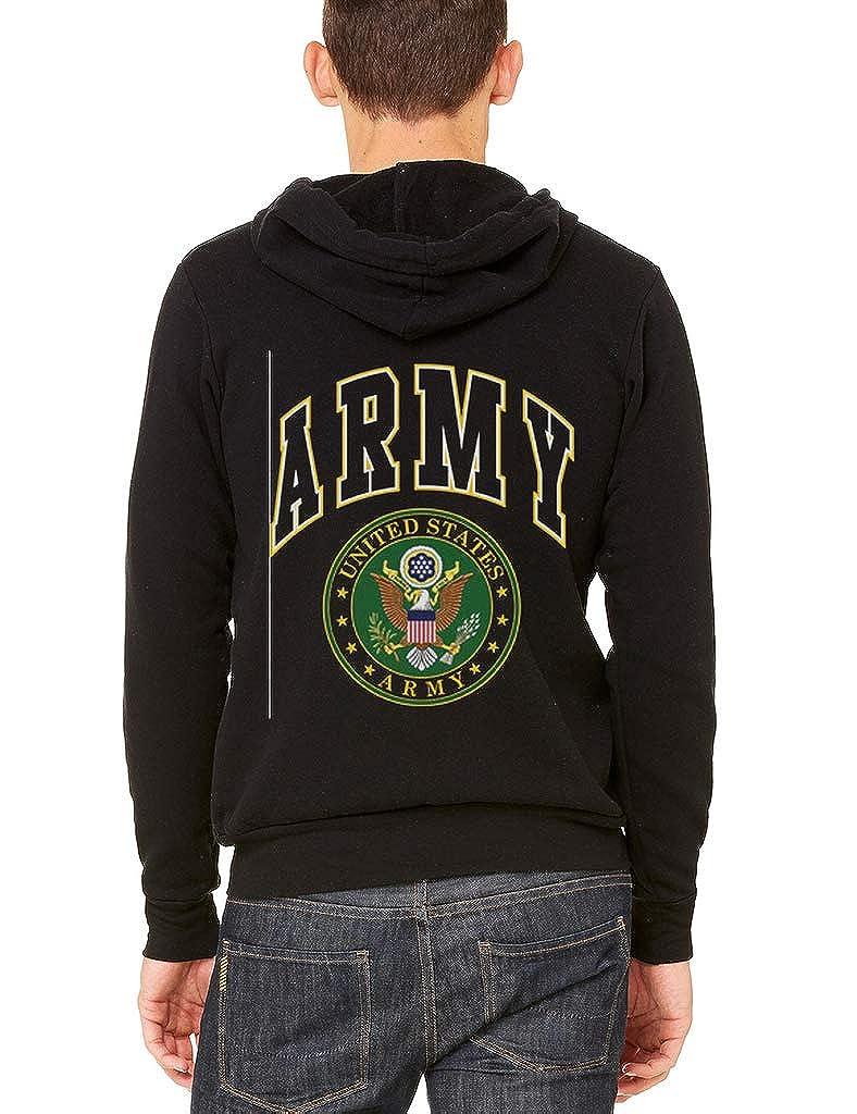 Interstate Apparel Mens Army Letters Seal Black Fleece Zipper Hoodie Black