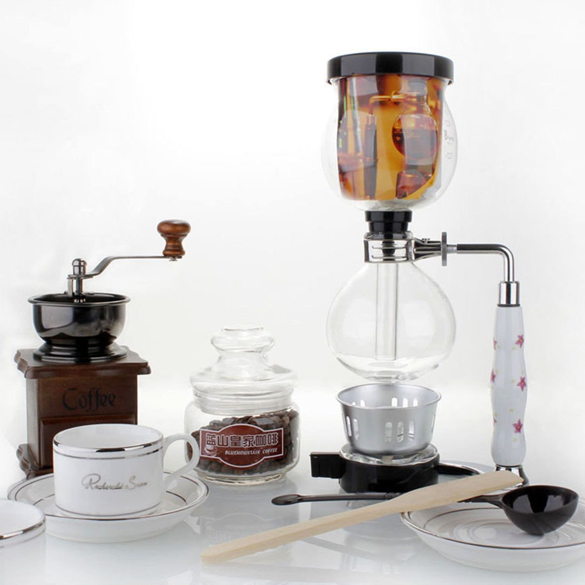 AUKO Manual Coffee Grinder and Maker Set, Artisanal Hand Crank Coffee Mill Glass with Spoon, Burner, Wood Stirrer, Filter and 2 Cups