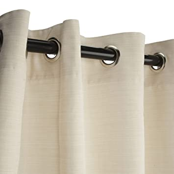 Superior Sunbrella Outdoor Curtain With Grommets, Dupione Pearl, 50 In X 96 In