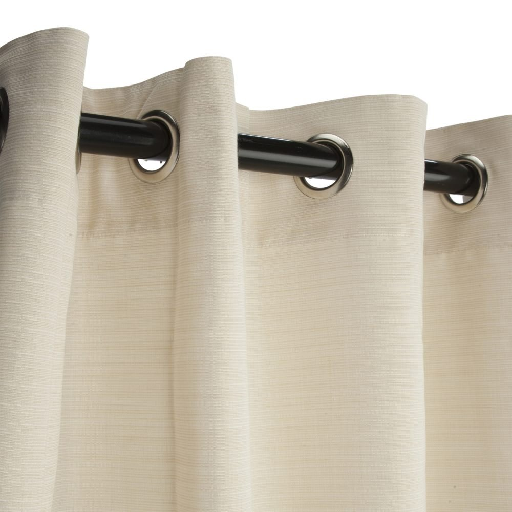 Sunbrella Outdoor Curtain with Grommets-Nickle Grommets-Dupione Pearl by Sunbrella