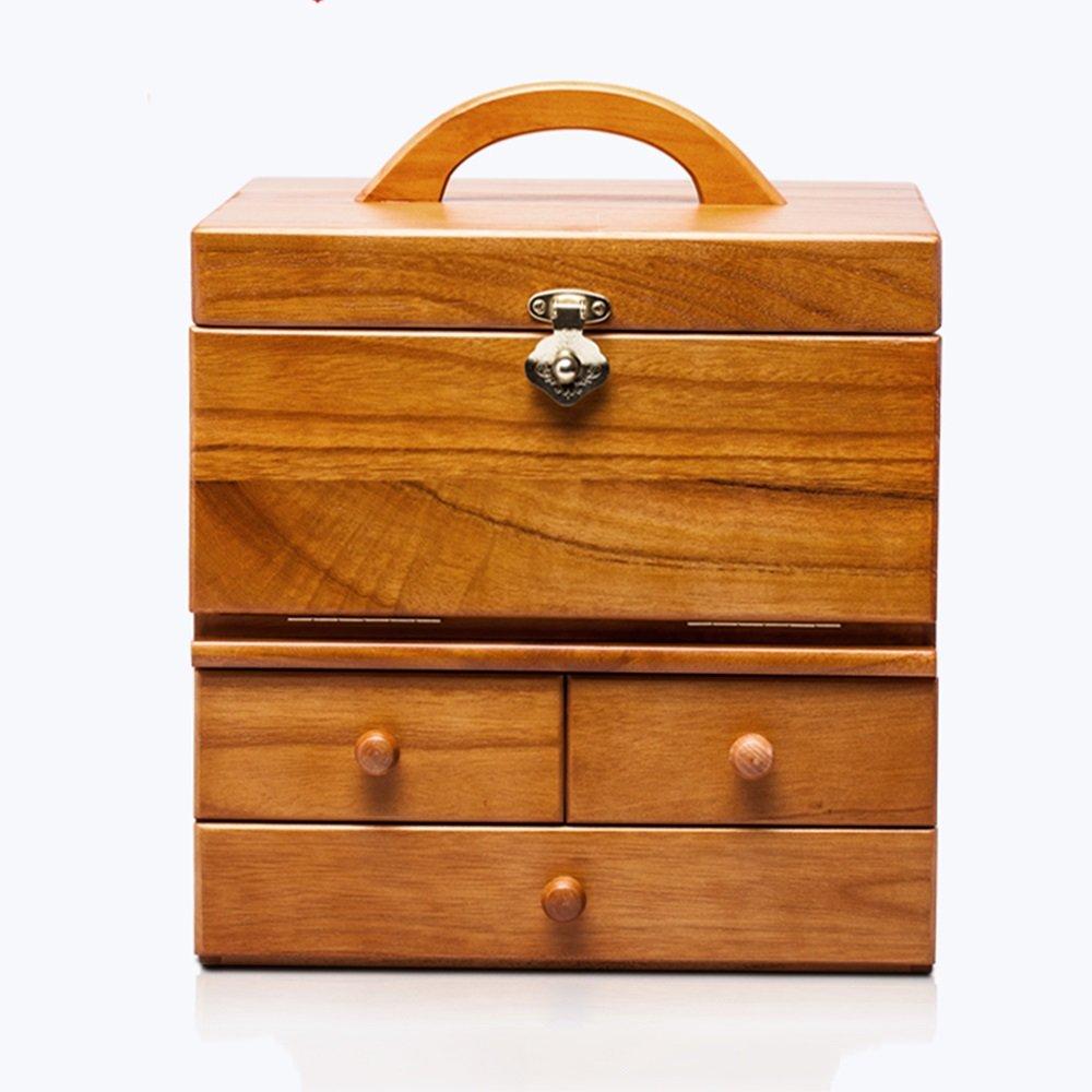 収納ボックス ソリッドウッド化粧品収納ボックスミラー引き出し大型収納ボックスで仕上げ (色 : 木の色) B07MT66X4L 木の色