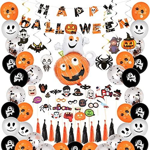 Halloween Deko Set, 67 Stücke Halloween Dekoration für Party Halloween Ballons Grusel Dekoration Set Halloween Banner Dekoration Hängen Wirbelt, Luftballons, Fotosrequisiten, Quaste, Konfetti-Ballon