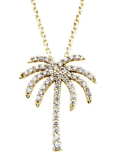 Amazon diamond palm tree 14k yellow gold pendant necklace 16 diamond palm tree 14k yellow gold pendant necklace aloadofball Images