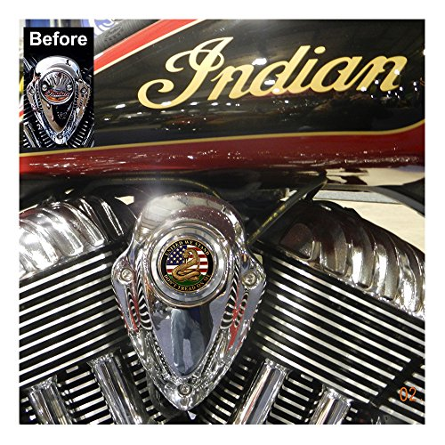 MotorDog69 Indian Horn Cover Coin Mount Set with Don't Tread On Me for Chieftain, Chief Classic, Chief Vintage, Dark Horse, Roadmaster, Scout by MotorDog69