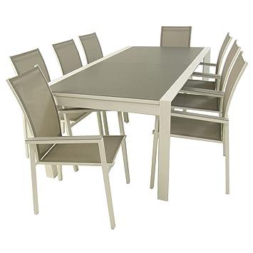 Conjunto muebles exterior   Mesa jardín extensible de 200/300 cm y 8 ...