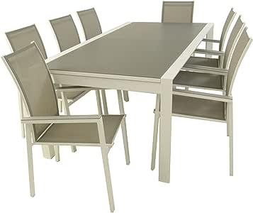 Conjunto Muebles Exterior, Mesa jardín Extensible 200/300 cm y 8 sillones apiliables con Respaldo Alto de 95 cm, Aluminio Color Blanco y Cristal antirayaduras Color taupé, 8 plazas: Amazon.es: Jardín