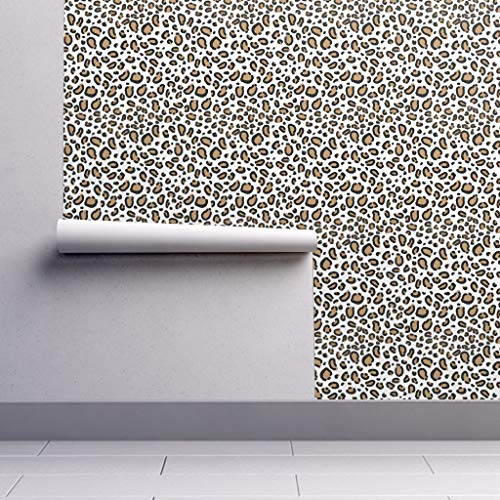 (Peel-and-Stick Removable Wallpaper - Cheetah Animal Print Cheetah Animal Leopard Animal Print Cougar Luxe by Charlottewinter - 24in x 60in Woven Textured Peel-and-Stick Removable Wallpaper Roll)