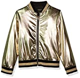 GUESS Girls' Big Long Sleeve Bomber, Gold, 10