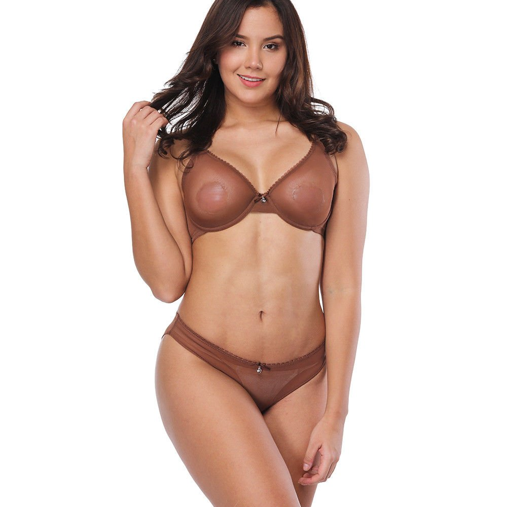 31096e711a536 Vogue's Secret Women's Sheer See-Through Bra Plus Size Unlined Transparent  Bras and Panties Set at Amazon Women's Clothing store: