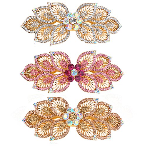 TEEMI Crystal Flower Hair Barrette for thick hair Alloy French Clip Rhinestone Hair clips for women