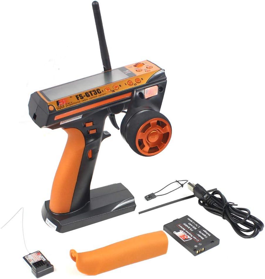 Flysky FS-GT3C FS GT3C Controlador RC de Pistola de 3 Canales / w Receptor, batería TX, Cable USB actualizado FS-GT3B (Orange)