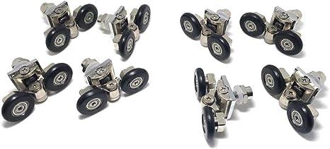 Lot de 4 Double Porte De Douche Rouleaux Patins Roues Poulies 20 mm roue Diamètre...