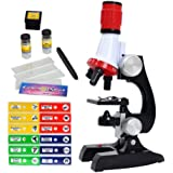 Science Kits for Kids Beginner Microscope with LED 100X 400X and 1200X-Include Sample Prepared Slides 12pc- Educational…