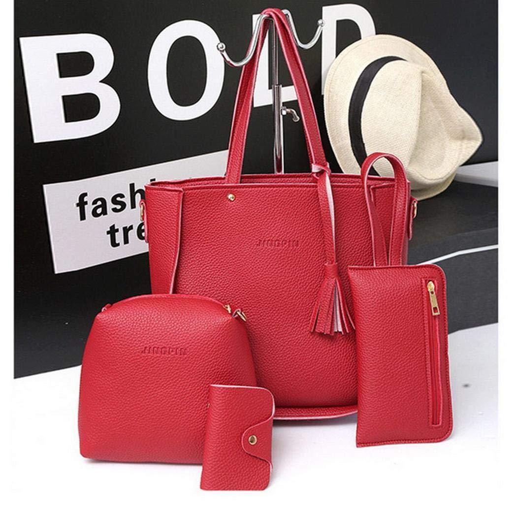 Anstsy Las mujeres de moda de cuero con cremallera bolso de hombro sólido Messenger Bag Purse Set Bolsos bandolera