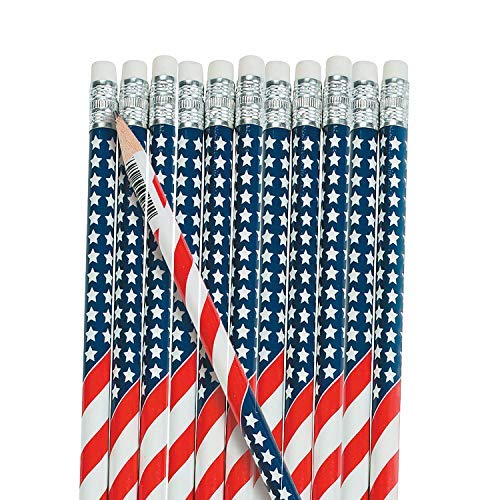 Fun Express Wooden USA Flag Pencils (Usa Flag Wooden)