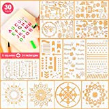 5ARTH Journal Stencils Set - 30 Pcs Bullet Stencils for A5 Notebook, Letter Stencils, Number Stencils, Mandala Stencils and More DIY Drawing Templates for Kids Women