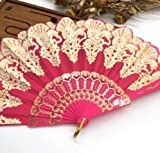 Rose Plastic Hand Fan Sequins Rose Flower Embroidered Dancing Party Fan Wedding Favors Decoracion Fiestas