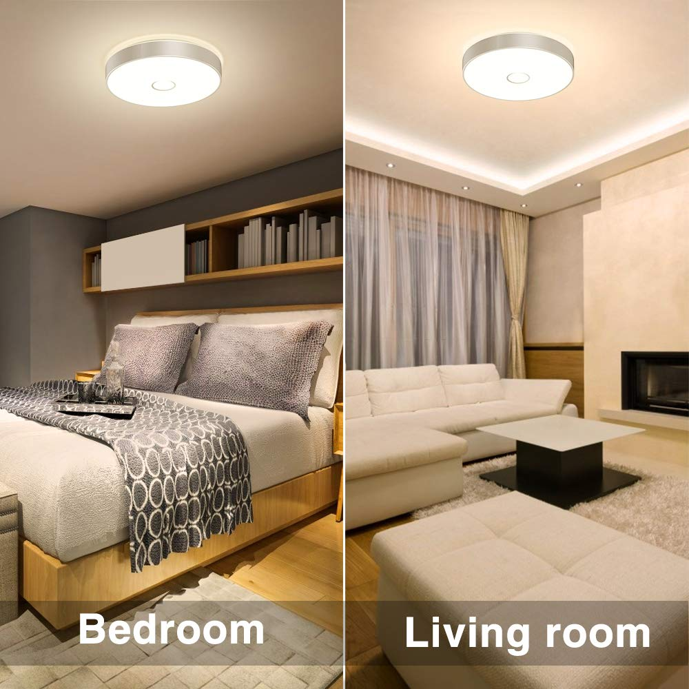 90 CRI 2700K Warm White Outdoor Ceiling Lamp for Living Room Round Flush Mount Bathroom Lights with Aluminum Rim Stairway Bedroom 1600LM IP65 Waterproof Porch Onforu 18W LED Ceiling Light