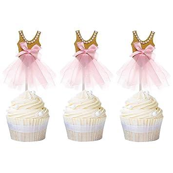 e8494c57 Newqueen 20 Pack Ballerina Tutu Cupcake Toppers Gold Glitter Paper Pink  Dress Ballet Cupcake Picks for