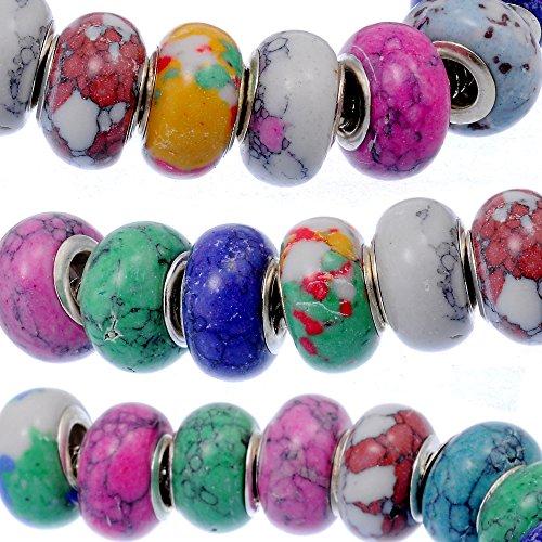 (RUBYCA 30Pcs Mix Stone Charm Beads fit European Charm Bracelet for Jewelry Making 14MM)