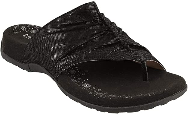 Taos Footwear Women's Gift 2 Black Printed Leather Sandal 7 M US