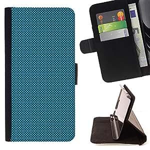 BullDog Case - FOR/Samsung Galaxy S4 IV I9500 / - / LIGHT BLUE DOTS /- Monedero de cuero de la PU Llevar cubierta de la caja con el ID Credit Card Slots Flip funda de cuer