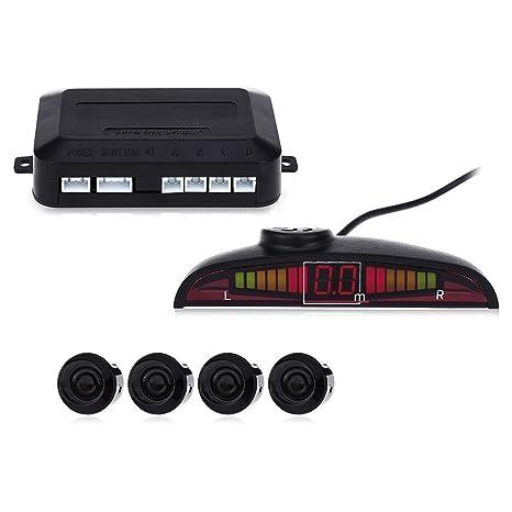 Alarma de voz para coche con pantalla LED, sistema de radar de marcha atrás,