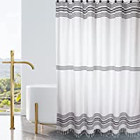 Hall & Perry Modern Block Stripe Shower Curtain 100% Cotton Striped Fabric Shower Curtain with Tassels for Bathroom…