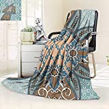 vanfan Soft Warm Cozy Throw Blanket Collection Arabian Style Geometric Pattern Islamic Persian Art Elements Baroque Touch Art,Silky Soft,Anti-Static,2 Ply Thick Blanket. (90''x90'')