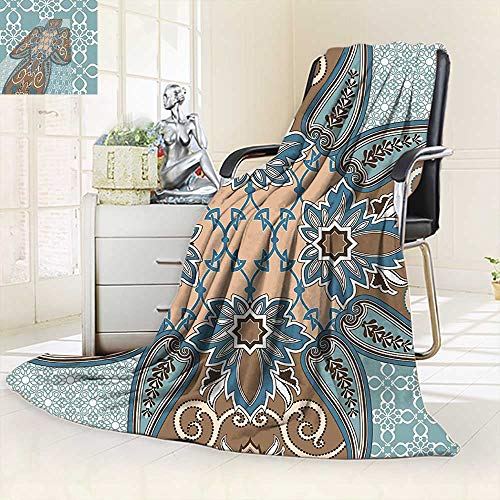 vanfan Soft Warm Cozy Throw Blanket Collection Arabian Style Geometric Pattern Islamic Persian Art Elements Baroque Touch Art,Silky Soft,Anti-Static,2 Ply Thick Blanket. (90''x90'') by vanfan
