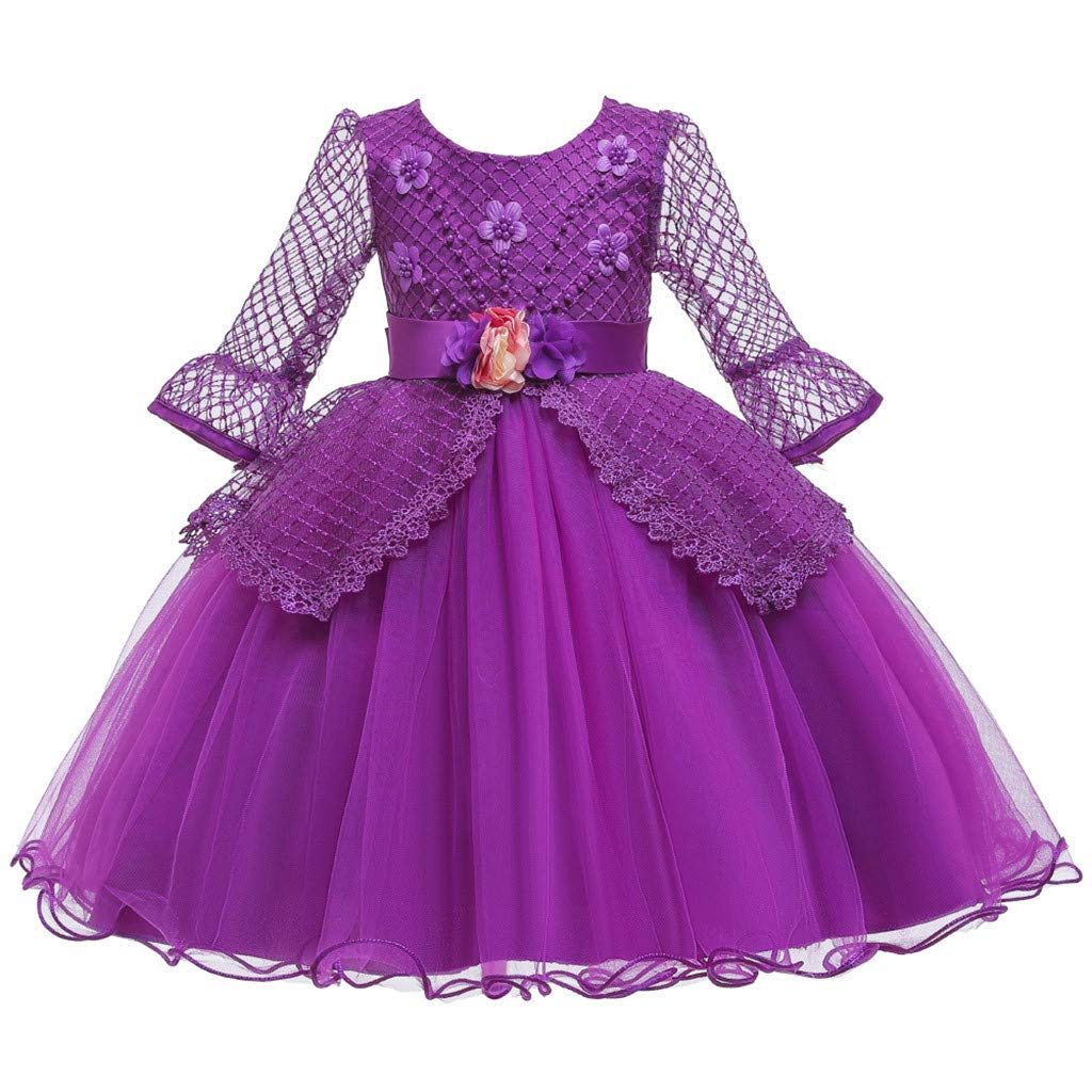 Kids Girls Vintage Dress Lace Long Sleeves Wedding Party Evening Formal Elegant Princess Tulle Dance Gown (Age:5-6 Years, Purple) by FDSD Baby Clothes