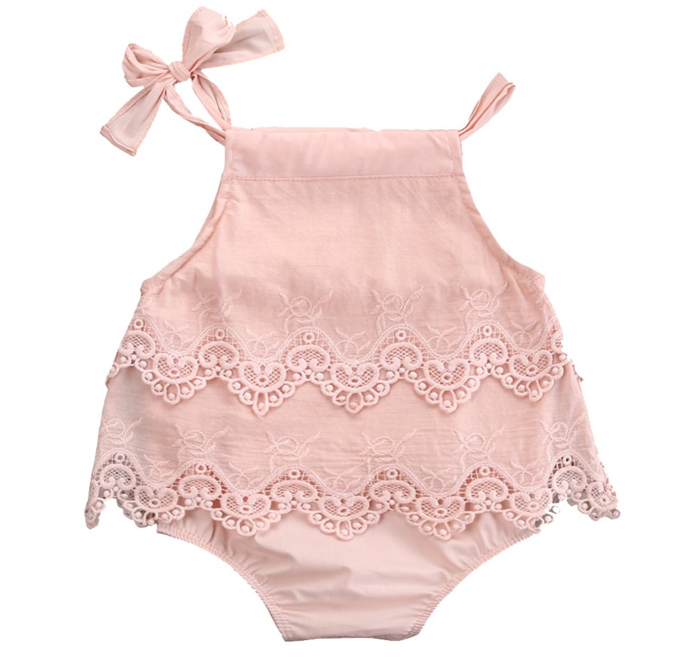 Newborn Infant Baby Girls Summer Lace Princess Romper Bodysuit Sleeveless Straps Outfit Playsuit (Pink, 3-6Month)