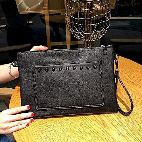 à Vintage Main GZHGF Mode Black Sac Rivet à Enveloppe Épaule Bandoulière Sac Individualité Sac Dames x0U0nBq7p