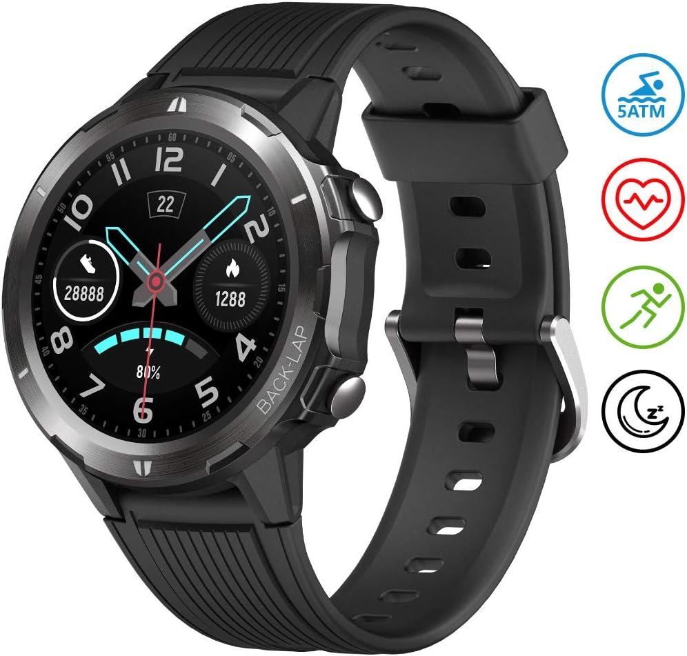 UMIDIGI Uwatch GT Reloj Inteligente Smartwatch 5ATM Impermeable con Cronómetro Pulsera Actividad Inteligente Reloj de Fitness con Podómetro Smartwatch Hombre niños para Xiaomi iOS y Android [Negro]