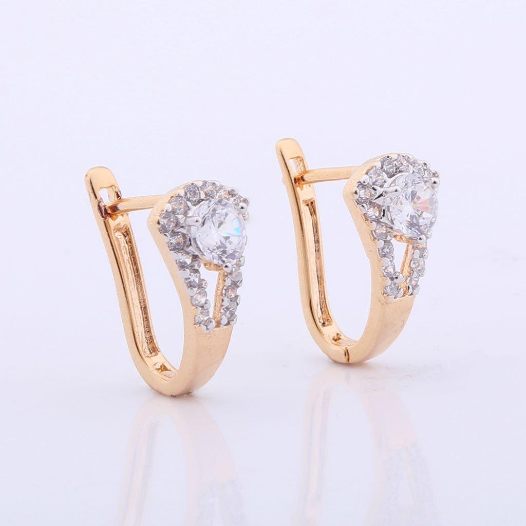 GULICX Gold Tone Cubic Zirconia Art Deco Round Pierced Huggie Earrings Clear Gelei Jewelry Co. Ltd. E197c