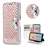 STENES Motorola Droid Turbo 2 Case - Stylish - 3D Handmade Bling Crystal Square Lattice Bowknot Wallet Credit Card Slots Fold Media Stand Leather Cover Case - Champagne