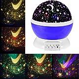 Romantic Rotating Projector Cosmos Astrostar Astro Star Sky Moon Night Lighting Lamp 2 Generation 4 LED Beads 3 Model Light Gift for Christmas(Purple)