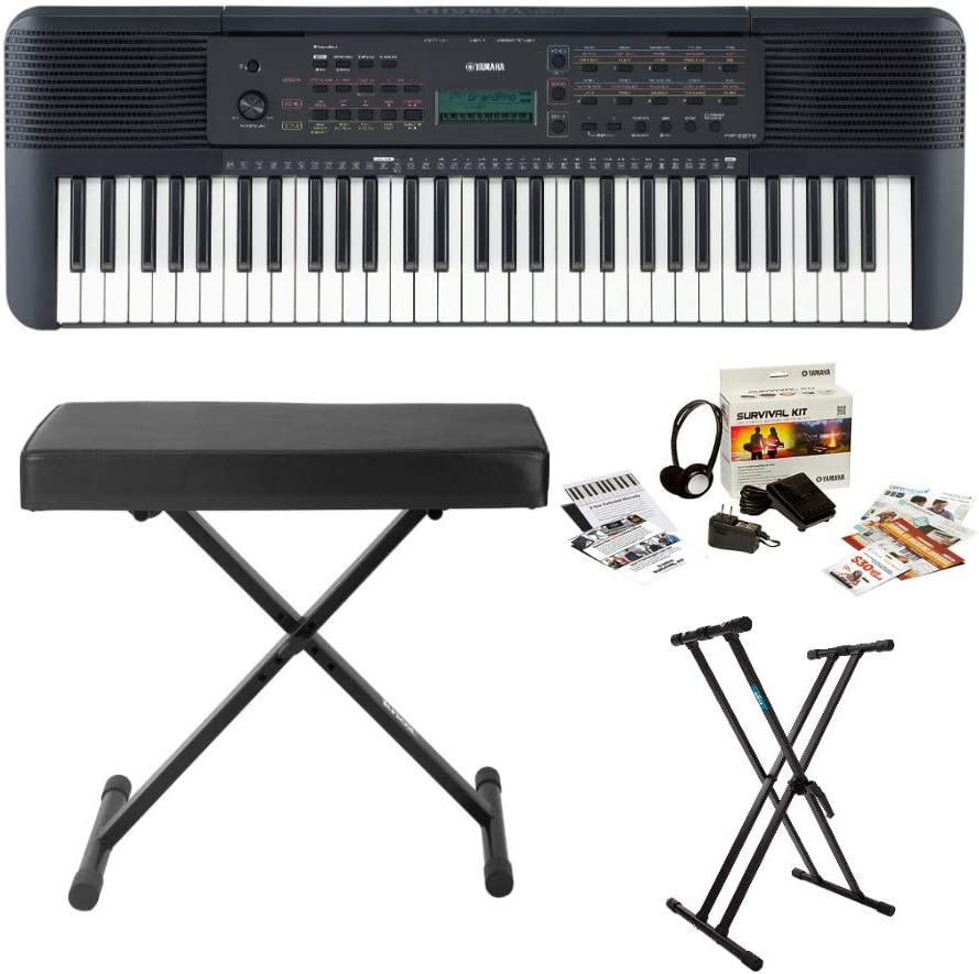 Yamaha PSRE273 61-Key Portable Keyboard Bundle with Knox Stand, Bench and Accessories (4 Items)