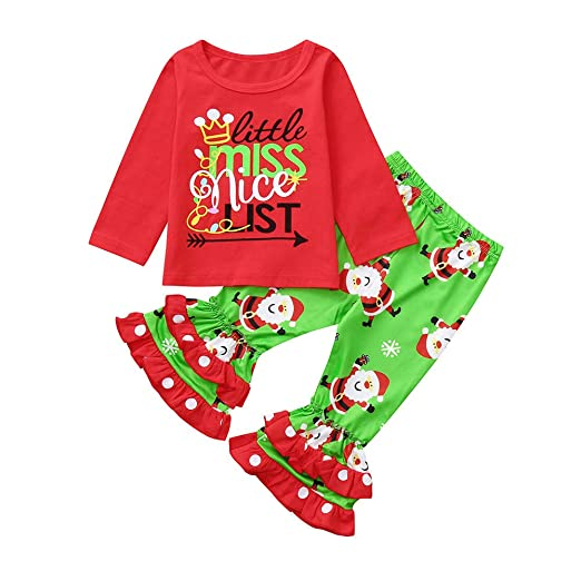 d3cd18276 Christmas Outfits Set Binmer Kids Baby Girls Letter Printed Long Sleeve  Tops Xmas Santa Pants Clothes