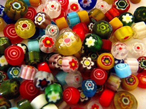 Millifiore Glass (Devardi Glass COE 90 Premium Millefiori, 5 Ounces, Assorted Colors Fusing, Beadmaking)