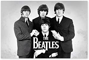 """Funny Ugly Christmas Sweater Beatles Black and White Poster Photo Art Beatles Poster Wall Art Monochrome Decor for Home Vintage Print Beatles Fans Gifts Beatles Photos 19"""" x 28"""""""