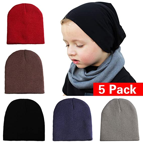 96a4805422b Wellwear Baby Boy s Knit Beanie Hats Soft Cute Skull Caps for Infant  Toddlers Kids (5