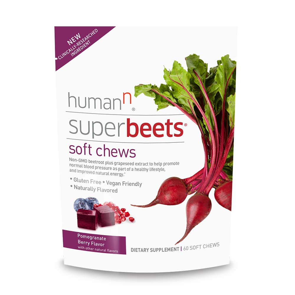 HumanN SuperBeets Soft Chews   Grape Seed Extract and Non-GMO Beet Powder Helps Support Healthy Circulation, Blood Pressure & Energy. (Pomegranate Berry Flavor, 60 Count, 1 Pack)