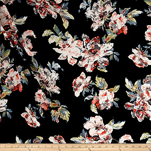 [Telio Paoloa Pique Knit Floral Print Blue/Orange Fabric By The Yard] (Pique Knit Fabric)