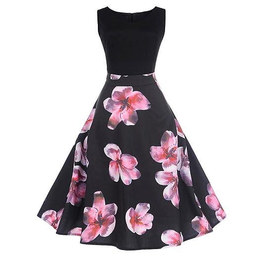 8395f292cb4 Goddessvan Women s Vintage 1950s Sleeveless Dress Floral Spring Garden  Inspired Rockabilly Swing Dress (S