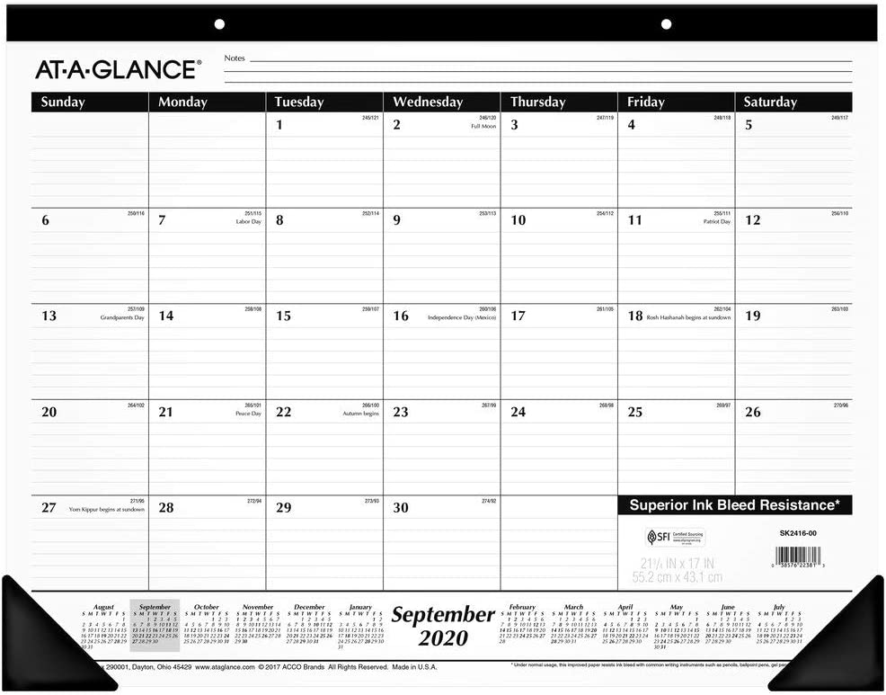Academic Desk Calendar 2020-2021, AT-A-GLANCE Monthly Desk Pad Calendar, 21-3/4