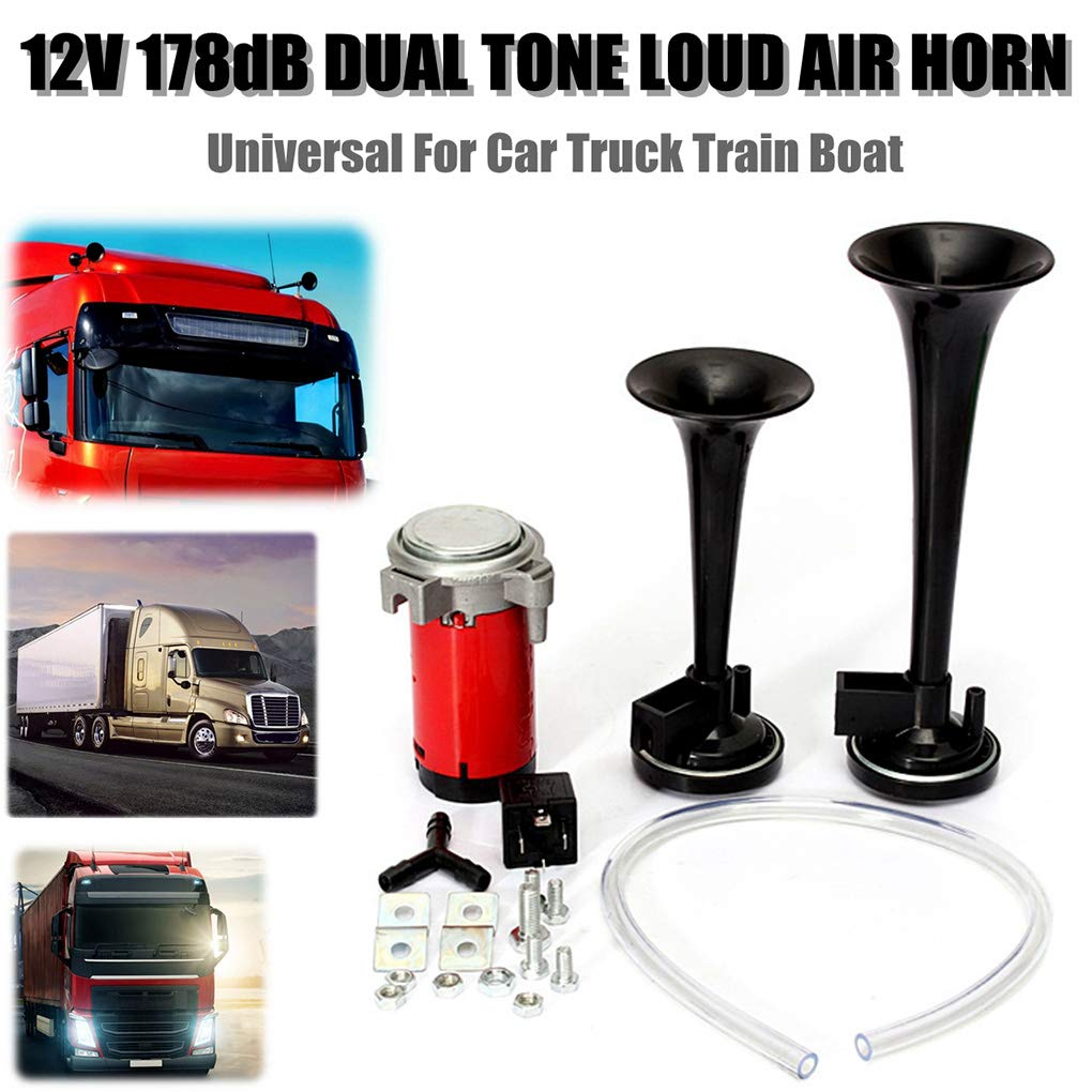 Universal 178DB Super Loud Dual Trumpet Air Horn Kit 12V Air Compressor Replacement for Boat Truck Train Car Vehicle Miaomiaogo