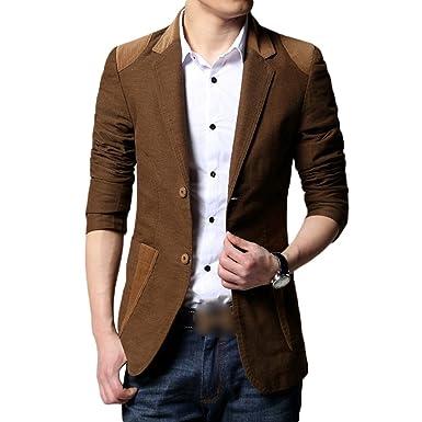 Zhiyuanan Blazer Für Männer Chic Stitching Slim Fit Sakko Einreiher 2 Knopf  Anzug Jacke Warme Casual b6d3cafe1e