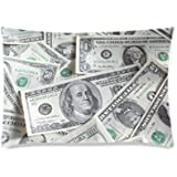 Funny US Dollar Currency Money Pillowcase, Hundreds of Dollar Bills Pillowcase - Pillowcase with Zipper, Pillow Protector Cov