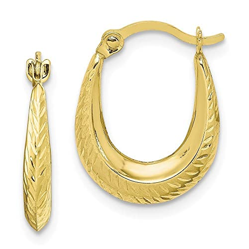 0ea63da15c4e1 Solid 10k Yellow Gold Textured Small Hollow Hoop Earrings (0.5IN x 0.4IN)